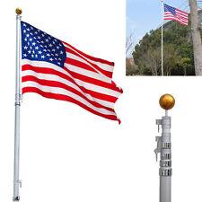 25Ft Telescoping Aluminum Sectional Flagpole Kit w/3'X5' US Flag Halyard Pole E1