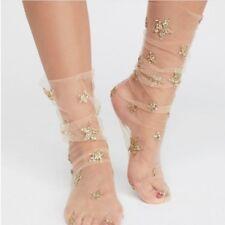 Women Fashion Glitter Star Soft Mesh Socks Transparent Elastic Sheer Ankle socks
