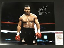 Mike Tyson Signed Auto Autographed Black Trunks In-Ring 16x20 JSA WITNESSED COA