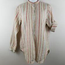 Ralph Lauren LRL Womens Button Front Shirt P/S Petite Multi-color 100% Linen OS8