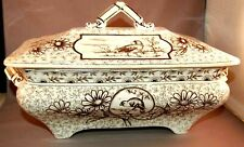 "RARE Aesthetic Movement Ridgeway ""Devonishire""  Huge TransferWare Tureen! Birds!"