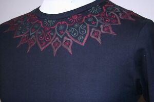 Pretty Green Aztec Embro T-Shirt - XS/S - Black - Rare Mod 80s Casuals Top