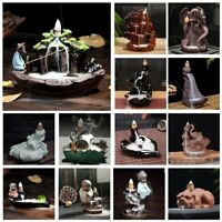Backflow Incense Burner Ceramics Buddha Dragon Censer Cones Holder Handmade   H