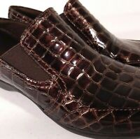 Clarks Bendables Copper Croc Pattern Slip On Shoes Size 7.5 Women's