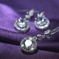 18k white gold gf made with SWAROVSKI crystal round stud earrings necklace set
