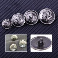 10pcs Antique Silver Skull Crossbone Metal Round Shank Buttons Sew Craft DIY