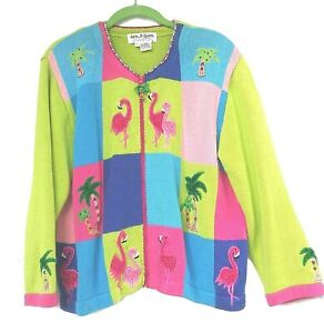 Cardigan Sweater Color Block Size L Zip Flamingo Tropical Embroidery Jack BQuick