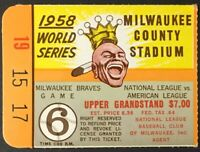 1958 World Series Game 6 Ticket Milwaukee County Stadium Braves vs Yankees