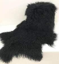 110cm Real Mongolian Fur Rug Bedroom Black Curly fur Throw Tibetan Lambskin Pelt