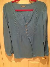 Marks & Spencer Electric Blue Linen Shirt, Size 10, VGC