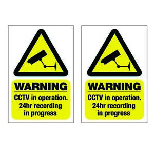 Pack of 2 CCTV in Operation Warning Stickers Self Adhesive Back or Static Cling