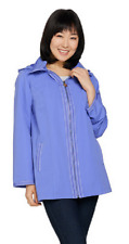 Dennis Basso Water Resistant Jacket with Striped Lining,Periwinkle ,Size XL, $72