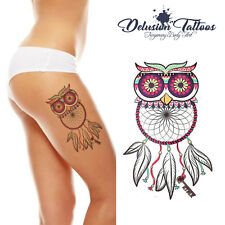 REALISTIC TEMPORARY TATTOO - OWL DREAM CATCHER  - WOMANS, GIRLS, KIDS COSTUME