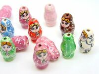 Hand Painted 20mm Porcelain Russian Matrioshka Doll Beads ** PICK PACK SIZE **