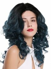 Women's Wig Lace Front Monofilament Long Curls Volume Backcombed Black Blue