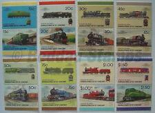 1987 UNION ISLAND Set #7 Train Locomotive Railway Stamps (Leaders of the World)