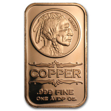 """ Indian Head "" 1 oz .999 PURE SOLID COPPER - ART-BAR Free Shipping!!"