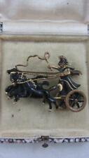 Vintage Goldtone Brooch Titan Helios Driving Chariot of Sun Articulated