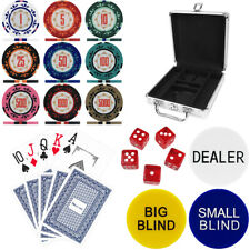 More details for three colour crown 100 piece, 14g poker chip set in aluminium poker chip case