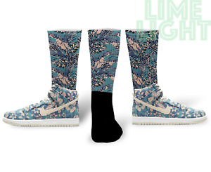"Dunk High Hawaii ""Palm Tree"" Nike Dunk High Hawaii Floral Sneaker Match Socks"