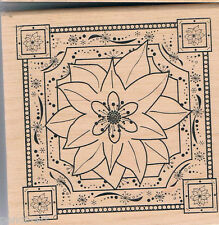 Papermania floral flower design stamp on wood wooden block