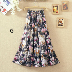 Lady Chiffon Ethnic Floral Skirt A Line Pleated Printed 70/80//90CM Length Cute