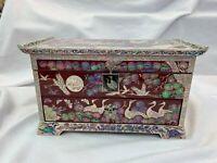 Korean Traditional Nacre Inlaid Mother of Pearl Handmade Chinoiserie Jewelry Box