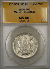 1920 Maine Commemorative Silver Half Dollar 50c Coin ANACS MS-60 Details Cleaned
