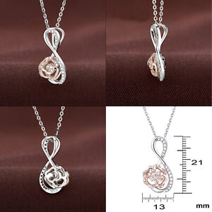 Newshe Pendant Chain Necklace Rose Gold Dance Stone AAA Cz 925 Sterling Silver