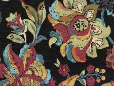Drapery Upholstery Fabric Woven Jacquard Lg Scale Leaves & Flowers - Black Multi