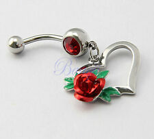 1pc True Red Rose Flower with Love Heart Belly Navel Bar Ring Dangle JW729
