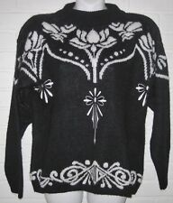VINTAGE SWEATER EMBROIDERED DETAILS WHITE DAVID BRETT KNIT BLACK LADIES M EUC A+