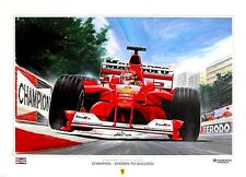 POSTER ARTWORK PRINT / DESSINS F1 M. SCHUMACHER CHAMPION 2000  by CLOVIS
