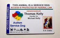 AUTISM SERVICE DOG VEST ID CARD / PET  BADGE FOR SERVICE ANIMAL CUSTOM MADE 12