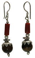 Vintage Style Tiger's eye Coral earrings jewelry genuine 925 sterling silver