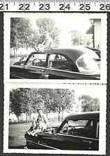 VINTAGE OLD B & W PHOTO LOT/2 SHOT OF MOTHER & SON ON ANTIQUE CAR IN PARK (1448)