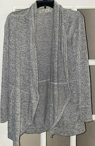 Abercrombie & Fitch Open CASCADING Front Cardigan Sweater XS Gray SUPER SOFT EUC