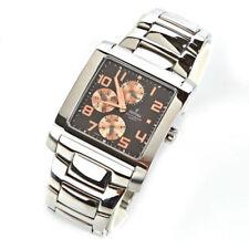 Relojes de pulsera de plata de día y fecha para hombre