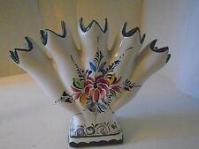 Jay Willfred Andrea by Sadek 5 Five Finger Flower Fan Portugal Vase Hand Paint