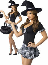 Escolar niña bruja Damas Vestido Elaborado Disfraz De Halloween Pequeño/mediano tamaño 2-8
