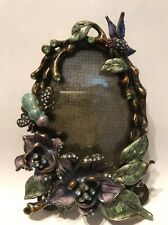 Elegant Enamel Crystals Picture Frame Bee And Hummingbird With Flowers.