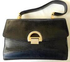 Vintage Black Koret Real Crocodile Lady's Handbag With Red Leather Interior