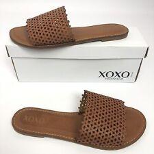 XOXO Womens Rachad Flat Sandals Cognac 8.5M