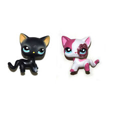 Littlest Pet Shop Sparkle Pink Short Hair & Cyan Eyes Black Cat Kitty Figure Toy