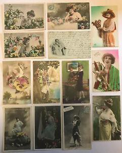 13 x Beautiful Vintage Antique Glamour Postcards 1900-1920, Women Ladies    (P2)