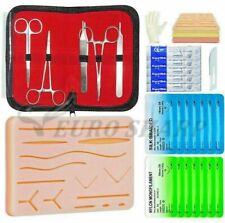 Complete Suture Practice Kit Training 5 Piece Stainless Steel Silicon Pad Silver