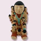 """Pueblo Storyteller Pottery 5.5"""" Sculpture Figurine 9 Children Signed Teissedre"""