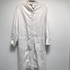 Vintage Ilie Wacs White Cotton Coat Nehru Collar Long Sleeve Car Coat 10
