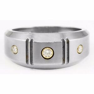 Edward Mirell Gray Titanium 18k Gold Band Ring 3 Round Diamond .16 TCW Groove
