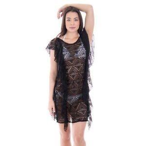 Crochet Swimsuit Cover Up Beach Dress Black Women's L/XL